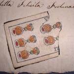 Segnali di riconoscimento lasciati nel corredo di bambini abbandonati, sec. XIX (da Nascere al tempo della ruota. Esposti. Mostra di documenti dell'Archivio Storico Provinciale, Como 9.11-9.12.2001).